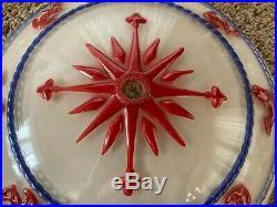Vintage Nautical Glass Shade Ceiling Light Fixture-ULTRA RARE