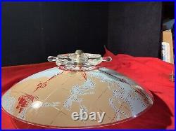 Vintage Nautical Glass Ships Wheel Compass Light Fixture