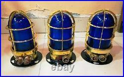 Vintage Nautical Marine Ship Brass Ceiling Passage Light With Blue Glass 3 Piece
