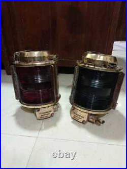Vintage Nautical Marine Ship Old Electric Brass Light Red And Green Glass 2 Pcs