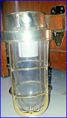 Vintage Nautical Marine Ship Passageway Bulkhead Light Made Of Brass New 2 Piece