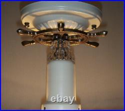 Vintage Nautical Maritime Ceiling Lamp Light Fixture Ship Wheel Sailboat Anchor