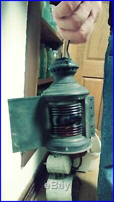 Vintage Nautical Maritime Lamp Light. Ship Hanging Lantern Blue/red
