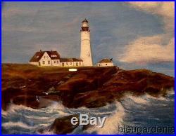 Vintage Nautical Oil Painting Dtd 1947 COAST OF MAINE Portland Head Light