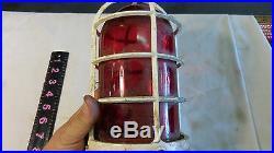 Vintage Nautical Ship Light -Passageway Bulkhead -Metal Cage Glass Globe Light