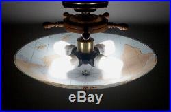 Vintage Nautical Ships Wheel Compass Restored 4 Bulb Ceiling Lamp Light Fixture