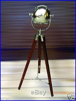 Vintage Nautical Spot Light/ Search Light Premium Quality Teak Wooden Floor Lamp