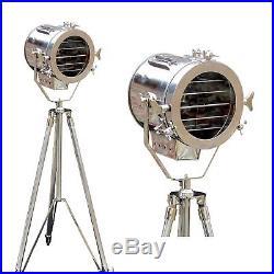 Vintage Nautical Steel Big Spot Floor Search Light Industrial Floor Tripod Lamp