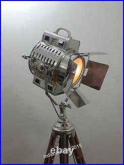 Vintage Nautical Tripod Floor Lamp Spot Searchlight Home Decor Light In Chrome
