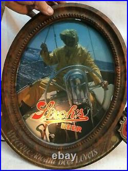 Vintage Nautical Welcome Aboard Port Window lighted Strohs beer sign Mid Century