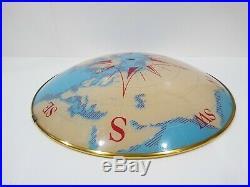 Vintage Nautical World Map Compass Glass Ceiling Light Fixture/Shade Brass Trim