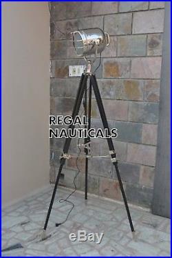 Vintage Nautical photo, Studio Decor With Black Wooden Tripod Spot Search Light