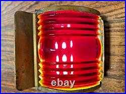 Vintage Nml Brass Bow Light, Red/green Glass Lens New Wiring/led Screw On Base