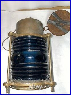 Vintage Oceanic 836 Brass Blue Glass Ship Light Hanging w Chain Good Condition