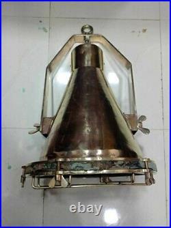 Vintage Old Antique Marine Brass Ship Hanging Pendant Light Large 2 Piece