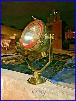 Vintage Old Antique Maritime Brass Ship Salvage Spot / Search Light Large