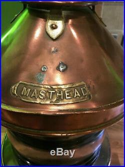 Vintage Original Copper & Brass Ships Masthead Light Maritime Maritime