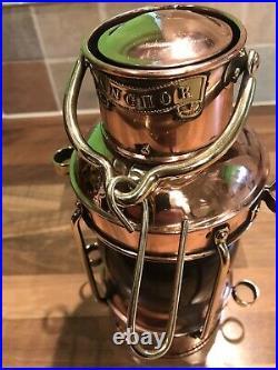 Vintage Original Davey & Co. Copper & Brass Ships Anchor Oil Lamp Light Maritime