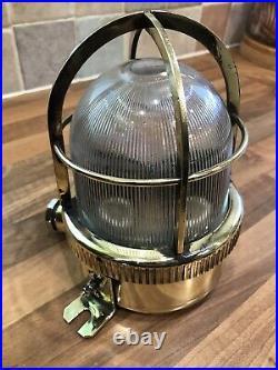 Vintage Original Ships Brass Bulkhead Cage Lamp Light Maritime Nautical Boat
