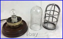 Vintage Original Ships Passageway / Ceiling Caged Light, Nautical, Working Order