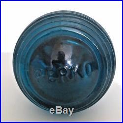 Vintage PERKO BLUE Navigational Boat Light Lens with Brass Bronze Base 6 Tall