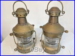 Vintage Pair Brass Nautical ANCHOR Copper Ship Lantern Light 15 1/2