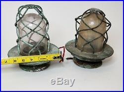 Vintage Pair Nautical Explosion Proof Lights Bulk Passage Lights Salvage