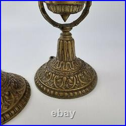 Vintage Pair Of Brass Maritime Ships Gimbal Candlesticks / Wall Lights 10 High