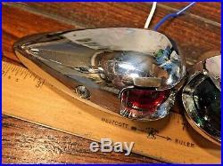 Vintage Pair Of Chromed Bronze Teardrop Running Lights New Sockets & Led Bulbs
