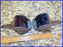 Vintage Pair Of Hinged Cast Bronze Glass Running Lights New Wire/leds Patina