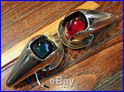 Vintage Pair Of Large Perko Bronze Teardrop Running Lights Rewired Led Bulbs
