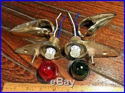 Vintage Pair Of Polished Bronze Teardrop Running Lights New Sockets & Led Bulbs