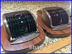Vintage Pair Of Wilcox Crittenden Bronze Red/green Glass Running Lights Leds
