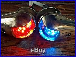 Vintage Pair Of Wilcox Crittenden Bronze Teardrop Glass Running Lights New Leds