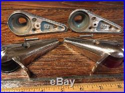 Vintage Pair Of Wilcox Crittenden Bronze Teardrop Top Mount Running Lights