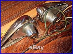 Vintage Pair Polished Brass/bronze Teardrop Side Mount Running Lights Glass Lens