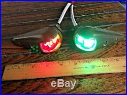 Vintage Pair Wilcox Crittenden Bronze Teardrop Running Lights Rewired Led Bulbs