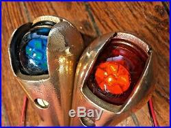 Vintage Pair Wilcox Crittenden Bronze Teardrop Running Lights With New Led Bulbs