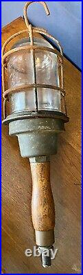 Vintage Pauluhn Brass Ship Drop Light Explosion Proof Wood Handle Glass Cover