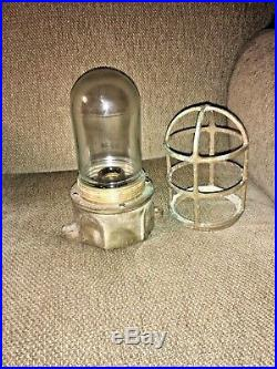 Vintage Pauluhn Industrial Brass Light Fixture Never Drilled for Use