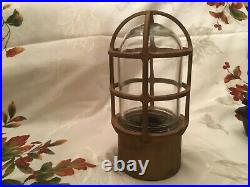 Vintage Pauluhn Nautical Brass Light Fixture With Explosion Proof Cage