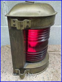 Vintage Perko Brass Nautical Light Lantern Original Maritime Red