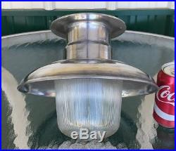 Vintage Polished Aluminum Nautical Ship's Ceiling Light With Ribbed Globe