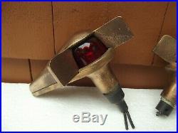 Vintage Pr. Wilcox Crittenden Bronze Teardrop Top Mount Running Lights Brass