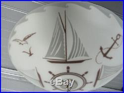Vintage Retro Art Deco Semi Flush Mount Light Nautical Sail Boat Light 9.5 Long