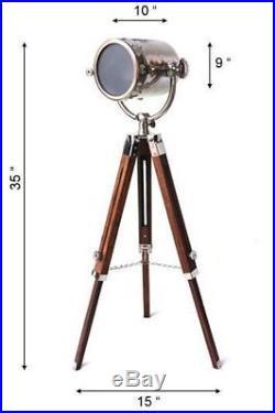 Vintage Retro Nautical Searchlight Floor Lamp Wooden Tripod Adjustable Light