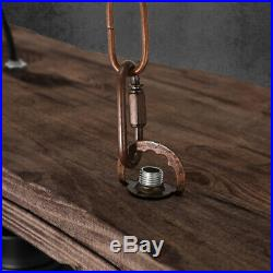 Vintage Retro Nautical Wrought Iron Pendant 3 Light Island Wood Hanging Lamp