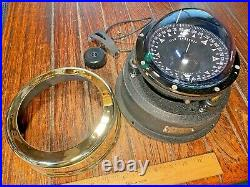 Vintage Ritchie Globemaster 5 Polished Brass Binnacle Mount Compass Led Light