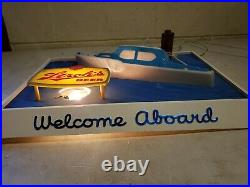 Vintage STROH's Lighted Nautical Themed Welcome Aboard Beer Sign