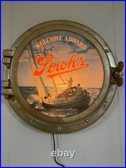 Vintage Sailboat Nautical Strohs Beer Lighted Porthole Welcome Aboard Sign